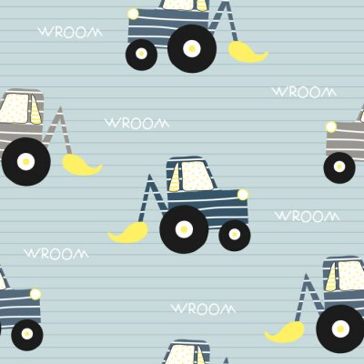Tapeta Seamless pattern with bulldozer. Kids funny textile print. Vector hand drawn illustration.
