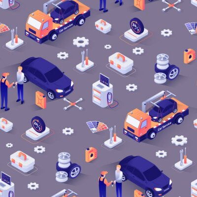 Tapeta Seamless Pattern with Car Repair Service Concept