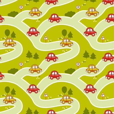 Tapeta Seamless pattern with cartoon cars, roads and traffic signs