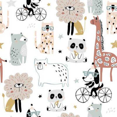 Tapeta Seamless pattern with cartoon hand drawn bear,giraffe, dog,leopard, lion, panda. Creative childish pastel texture. Great for fabric, textile Vector Illustration