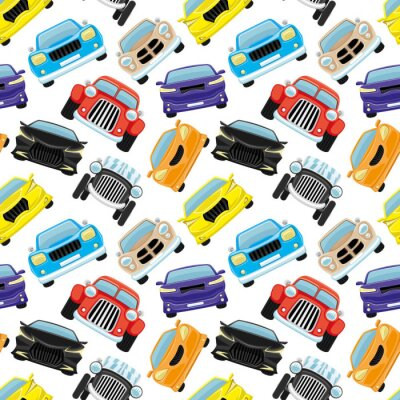 Tapeta Seamless pattern with colored cars on a white background.