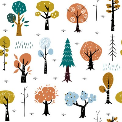 Tapeta Seamless pattern with colorful autumn forest trees. Great for fabric, textile.