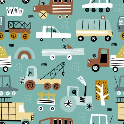 Tapeta Seamless pattern with cute car. Perfect for kids fabric, textile, nursery wallpaper.