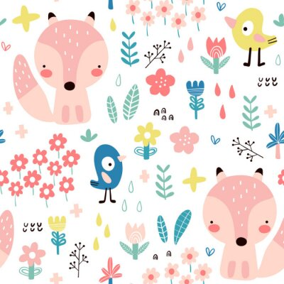 Tapeta Seamless pattern with cute foxes for baby