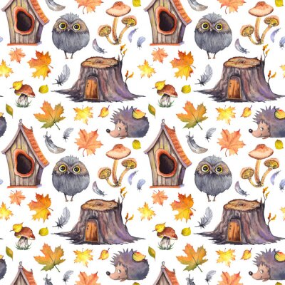 Tapeta Seamless pattern with cute owls, hedgehogs, birdhouses, tree stumps, mushrooms, feathers and autumn leaves. Watercolor illustration isolated on white background.