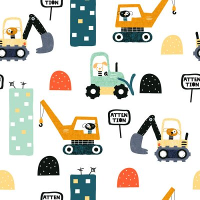 Tapeta Seamless pattern with dog worker and heavy transports. Kids funny print. Vector hand drawn illustration.