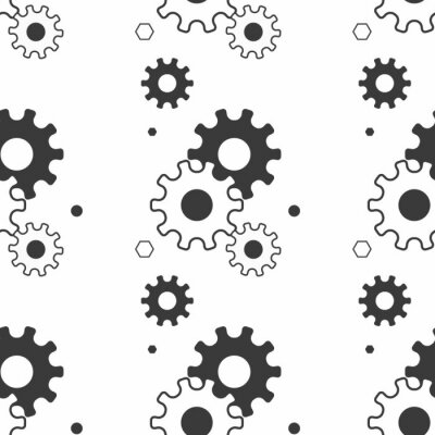 Tapeta Seamless pattern with gears. Black and white thin line icons