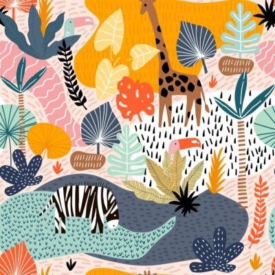 Tapeta Seamless pattern with giraffe, zebra,tucan, and tropical landscape. Creative jungle childish texture. Great for fabric, textile Vector Illustration