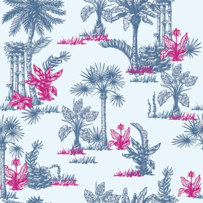 Tapeta Seamless pattern with graphic tropical trees such as palm, banana, monstera for interior design. Vector