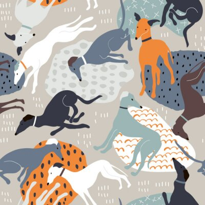 Tapeta Seamless pattern with hand drawn greyhounds. Creative dog texture in scandinavian style. Great for fabric, textile Vector Illustration