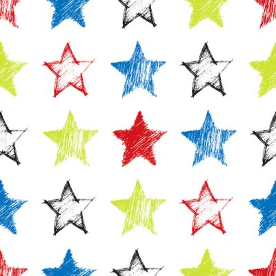 Tapeta Seamless Pattern with hand drawn Stars