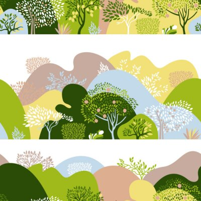Tapeta Seamless pattern with hilly landscape, trees, bushes and plants. Growing plants and gardening. Protection and preservation of the environment. Earth Day. Vector illustration.