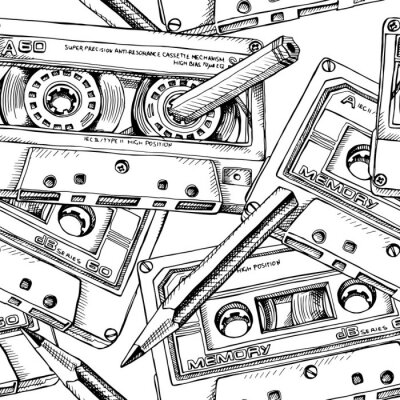 Tapeta Seamless pattern with image of a Audio Cassette and a pencil. Vector black and white illustration.