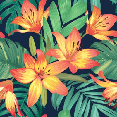 Tapeta Seamless pattern with lily flowers and palm leaves background. Vector set of exotic tropical garden for holiday invitation, greeting card and textile fashion design.