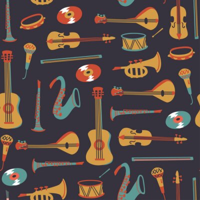 Tapeta Seamless Pattern with Music Symbols and instruments. Vector Doodle Elements.