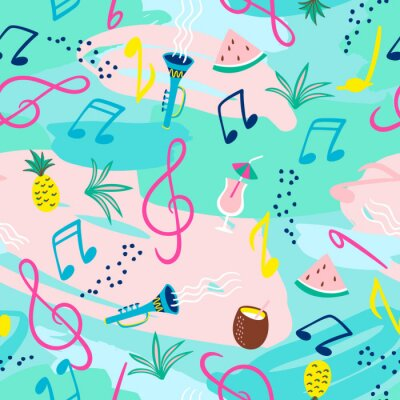 Tapeta Seamless pattern with musical notes, instruments and summer symbols. Vector