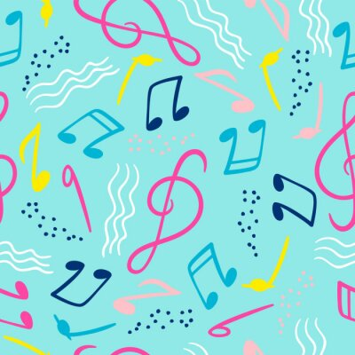 Tapeta Seamless pattern with musical notes. Vector hand draw background
