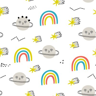 Tapeta Seamless pattern with planets, raibows and stars. Perfect for kids fabric, textile, nursery wallpaper. Fantastic background.