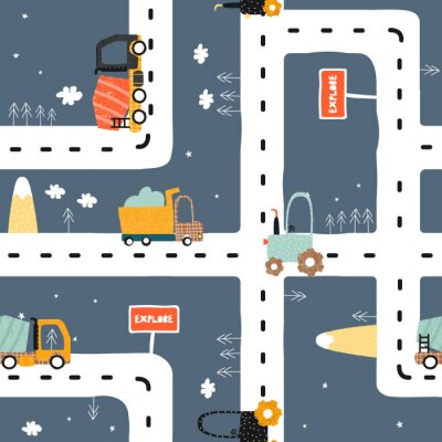 Tapeta Seamless pattern with road? truck and tractor. Cool kids print for carpet or nursery textile. Vector hand drawn illustration.