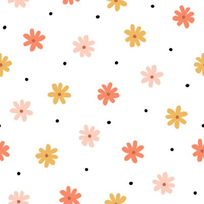 Tapeta Seamless pattern with simple little flowers in pastel color. Floral repeatable background with chamomile. Cute childish print. Vector illustration in Scandinavian decorative style.