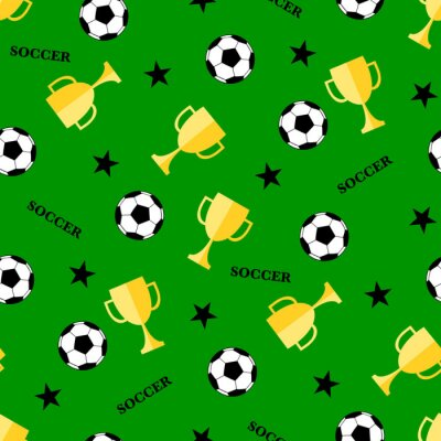Tapeta Seamless pattern with soccer ball and winner cup. Seamless football background