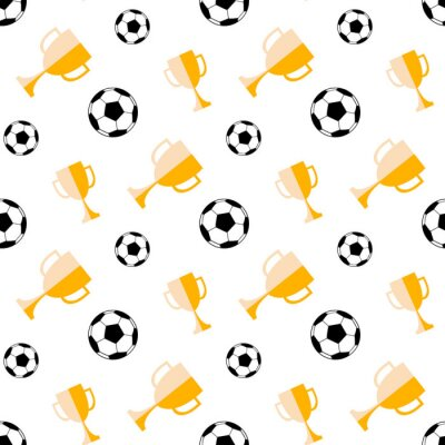 Tapeta Seamless pattern with soccer ball and winner cup. Vector football background