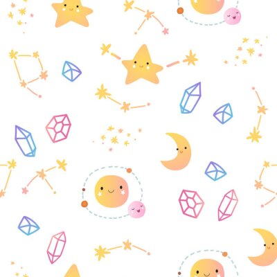 Tapeta Seamless pattern with stars and planets.