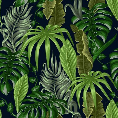 Tapeta Seamless pattern with tropical banana, palm and monstera leaves for fabric design.