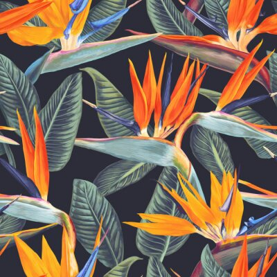 Tapeta Seamless pattern with tropical flowers and leaves of Strelitzia Reginae on dark background. Realistic style, hand drawn, vector. Background for prints, fabric, wallpapers, wrapping paper, poster, card