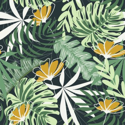 Tapeta Seamless pattern with tropical leaves and flowers on a dark background. Vector design. Jungle print. Textiles and printing. Floral background.