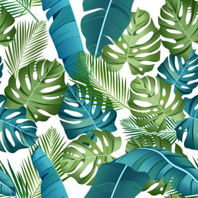 Tapeta Seamless pattern with tropical leaves: palms, monstera, banana leaves, jungle leaf seamless vector pattern white background. Swimwear botanical design. Vector. - Vector