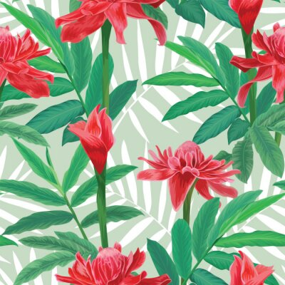 Tapeta Seamless pattern with tropical torch ginger flowers with leaves and palm leaves background. Vector set of exotic tropical garden for holiday invitation, greeting card and textile fashion design.