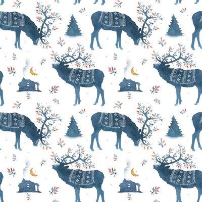 Tapeta Seamless pattern with watercolor Scandinavian elements. Reindeer, forest house, wild berries, branches, moss, crescent, deer, horns, national ornament.