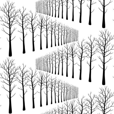 Tapeta Seamless pattern with winter trees