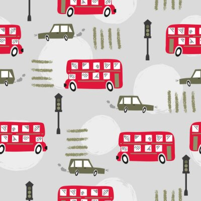 Tapeta Seamless road pattern with cartoon red London bus and car. Baby print.