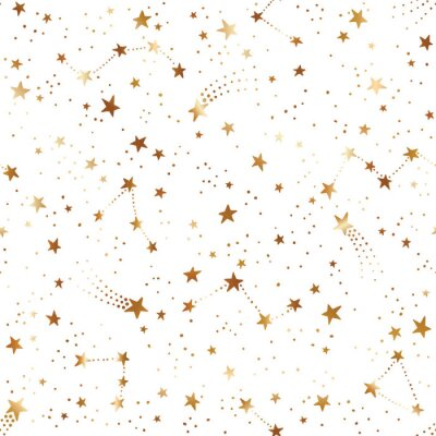 Tapeta Seamless space pattern with gold comets, constellations and stars