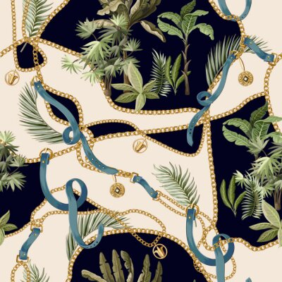 Tapeta Seamless summer pattern with belts, chains and tropical leaves and trees. Trendy fashion print.
