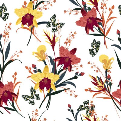 Tapeta Seamless vector blooming orchid, floral summer pattern background in the garden. Design for wallpapers, web page backgrounds, surface textures, textile and all prints