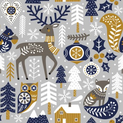 Tapeta Seamless vector pattern with cute woodland animals, woods and snowflakes on light grey background. Scandinavian Christmas illustration.