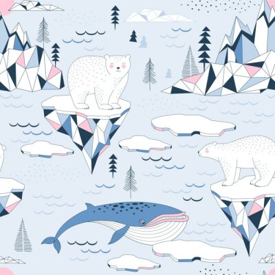Tapeta Seamless vector pattern with Polar Bear Blue Whale Ocean Mountains Iceberg Blocks of Ice North Landscape elements. Arctic Wildlife background. North Pole print. Antarctic Nature in Scandinavian style