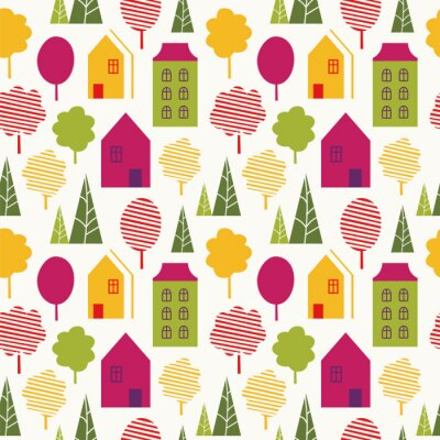 Tapeta Seamless vector pattern with stylish trees and houses in bright colors.