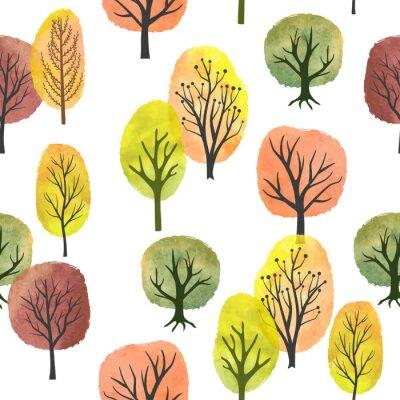 Tapeta Seamless watercolor autumn trees pattern. Vector abstract autumn forest.