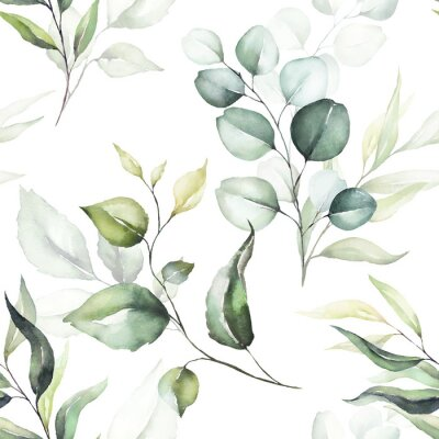 Tapeta Seamless watercolor floral pattern - green leaves & branches on white background; for wrappers, wallpapers, postcards, greeting cards, wedding invitations, romantic events.