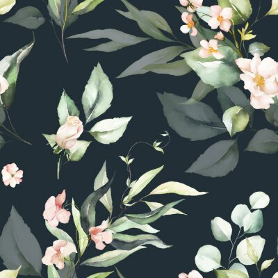 Tapeta Seamless watercolor floral pattern - pink flowers, green leaves & branches on dark background; for wrappers, wallpapers, postcards, greeting cards, wedding invitations, romantic events.