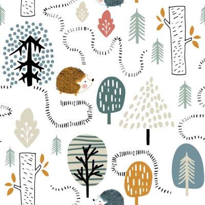 Tapeta Semless leśny wzór z jeżami. Dziecinna tekstura w stylu skandynawskim do tkanin, tekstyliów, odzieży, dekoracji szkółkarskich. Ilustracji wektorowych