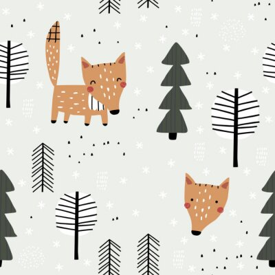 Tapeta Semless woodland pattern with cute fox and trees. Vector illustration. Scandinavian style. Creative hand drawn winter background