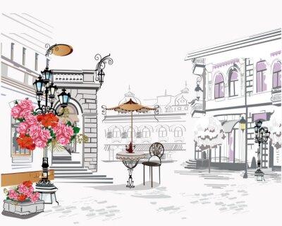 Tapeta Seria tła zdobią kwiaty, stare miasto widoki i kawiarnie uliczne. Ilustracji wektorowych wyciągnąć rękę.