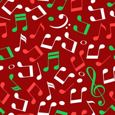 Tapeta Simple messy red green and white music notes with treble and bass clefs, christmas colors, seamless pattern, vector