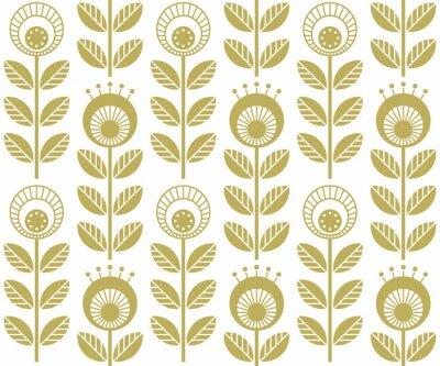 Tapeta Skandynawskie kwiaty w stylu ludowym - kwiatowy wzór bez szwu oparty na tradycyjnych ornamentach sztuki ludowej, szwedzki styl norweski. Ilustracji wektorowych. Jeden kolor - łatwy do ponownego pokolo