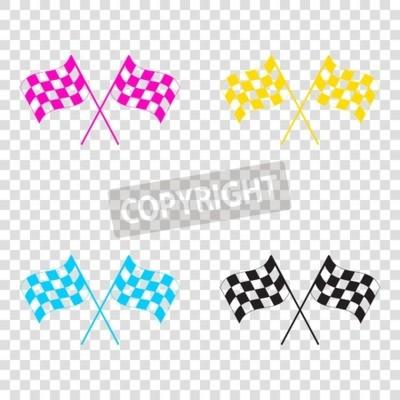 Tapeta Skrzyżowane logo flagi kratkę macha w konceptualny wiatr sportu. CMYK ikony na przezroczystym tle. Cyjan, magenta, żółty, klucz, czarny.